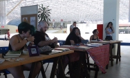 AnaLu Medeiros, Caio Oliveira e Dharily Sales na Feira e Quadrinhos Independentes.